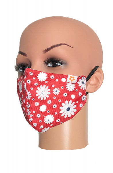 Happy Face Mask - Daisy Red