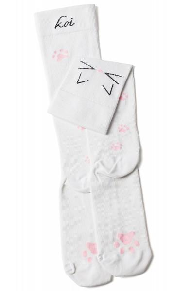 Koi Meow White Compression Socks